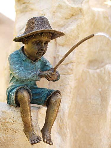 H. Packmor GmbH Bronzeskulptur Junge mit Angel Wasserspeier Gartenfigur Teichdekoration
