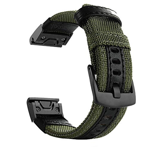 YOOSIDE Fenix 5/Fenix 6 Watch Band, 22mm Quick Easy Fit Nylon Durable Wristband Strap for Garmin Fenix 5/5 Plus,Fenix 6,Instinct,Quatix 5, MARQ,Forerunner 935/945,Fit Wrist 6.3-8.66inch (Green)