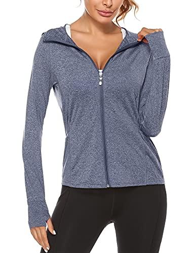 Sykooria Chaqueta deportiva con capucha para mujer con capucha y bolsillo lateral con cremallera completa