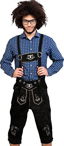 Almwerk Herren Trachten Lederhose Kniebund Modell Platzhirsch, Farbe:Schwarz;Lederhose Größe Herren:54