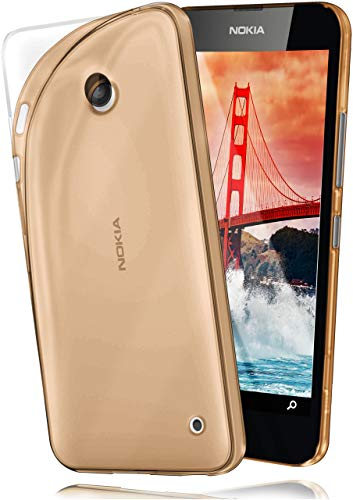 MoEx® AERO Case Transparente Handyhülle kompatibel mit Nokia Lumia 630 | Hülle Silikon Dünn - Handy Schutzhülle, Durchsichtig Gold