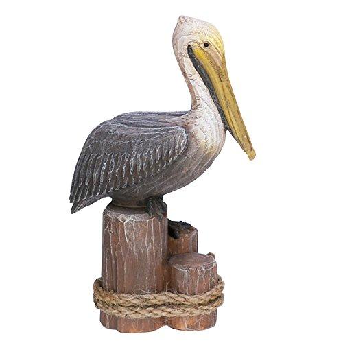 Beachcombers Pelican on Triple Piling 4 x 6 Inch Resin Stone Tabletop Figurine Statue