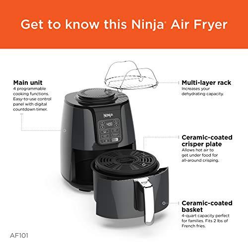 Ninja AF101 Air Fryer, 4 Qt, Black/gray