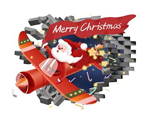 Pegatinas de pared de Navidad para sala de estar, habitación de los niños, diseño de graffiti 3D roto de Papá Noel