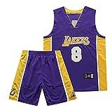 Hombres Baloncesto Jersey Retro Bordado Retirado Kobe No. 8 Uniforme de Baloncesto, Lakers Shirt Vest Top, Baloncesto Ropa Hombres Conjuntos-Purple-XL