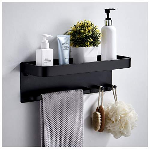 Gjfhome ruimte aluminium badkamer plank, muur gemonteerd zwevende plank Vanity lade met 2 haken - zwart handdoek spoor