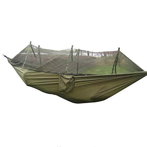 Hamaca de camping con mosquitera, portátil de alta resistencia de tela de paracaídas para camping, hamaca para dormir, hamaca para dormir al aire libre, hamaca de viaje para 2 personas para playa, senderismo, jardín – 260 x 130 cm