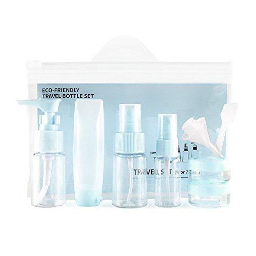 Aspire Set de Bouteilles de Toilette Taille de Voyage TSA approuvé Contenants liquides de Maquillage cosmétique Clair avec Sac à Fermeture éclair BPA Free Blue