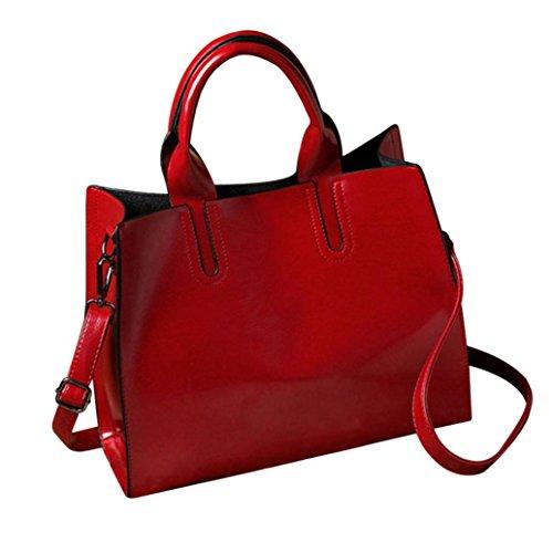 TUDUZ Damen PU Leder Handtasche mit Messenger Schulterriemen Kuriertasche (Rot)