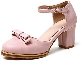 BalaMasa Womens ASL06460 Pu Block Heels