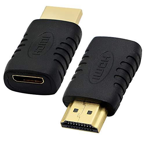 Mini-HDMI-Buchse auf HDMI-Stecker-Adapter, Mini-HDMI Typ C auf HDMI Typ A Konverter für Kamera, Computer, Grafikkarte, Tablet, etc., 2 Stück