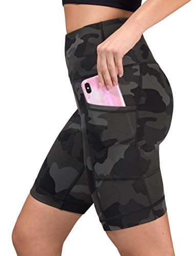 "Yogalicious Womens High Waist Running Biker Shorts with Side Pockets - Green Camo 9"" - Small"