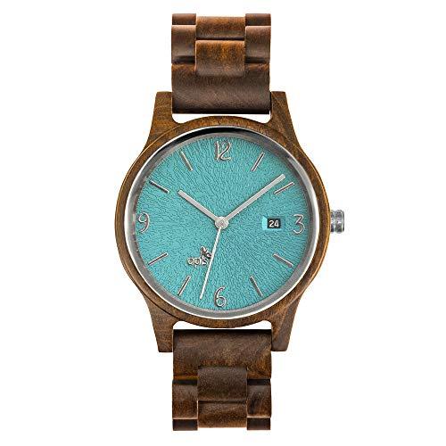 Opis UR-U1: Unisex (Damen/Herren) Retro Holz Armbanduhr aus Schwarzem Sandelholz mit einzigartigem, geprägten Ziffernblatt in Türkis mit silbernen Metallelementen