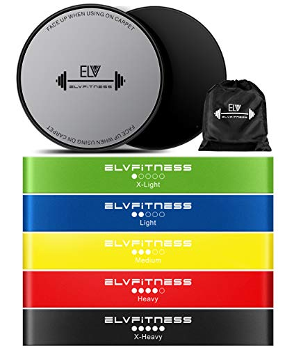 ELV Resistance Loop Bands and Exercise Sliders Set - Home and Personal Fitness Equipment, 5 Elastic Bands and 2 Gliding Discs, Awesome Core, Legs, Abs Workouts - Physical Therapy and Injury Prevention