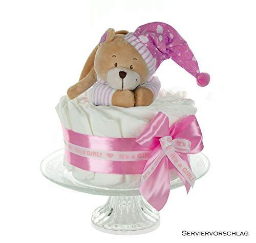 dubistda© Windeltorte Mädchen in babyrosa GIRL | Spieluhr Bär | Geschenk zur Geburt, Babyparty & Taufe