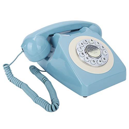 Goshyda Teléfono Fijo, teléfono Fijo de marcación Redonda, teléfono Fijo de Escritorio con Sistema Dual DTMF y FSK, para Sala de Estar, Dormitorio, Estudio, Oficina, Regalo, Hotel