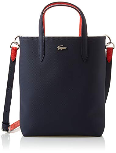 Lacoste Anna Vertical Shopping Tote Bag, sinople/Navy Blue-ACONIT-White