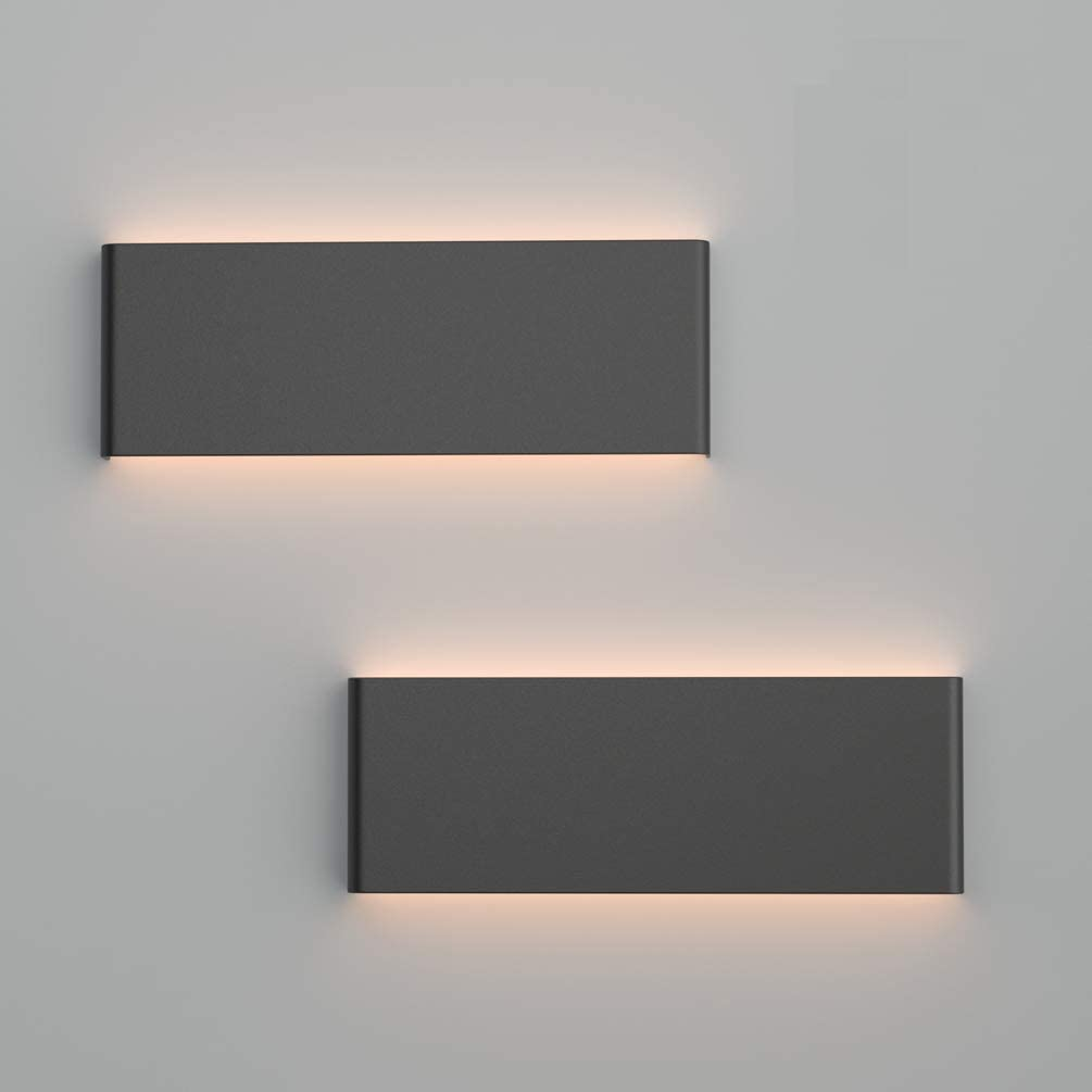 Ralbay 15.7in sale LED Modern Matte Limited Special Price Aluminum Wall 2-Pack Black Sconce