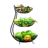 3-Tier Fruit stand: la hauteur totale est de 49 cm, la première couche est de 21 cm de diamètre, la seconde couche est de 26 cm de diamètre, et la troisième couche est de 30 cm de diamètre. Mettre en valeur un assortiment de fruits frais, produits, e...