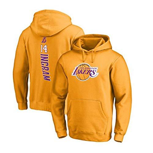 MUN Ingram Lakers # 14 Baloncesto con Capucha, Top clásico de formación para Aficionados, Uniforme de Baloncesto de los Deportes, la Camiseta de Ventilador (S ~ 3XL) L