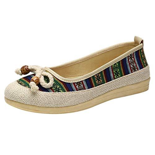 YWLINK Zapatos De Mujer Low-Top con Estilo Nacional Zapatos Individuales CuñAs Ligeras Zapatos Perezosos Bohemia Zapatos Romanos Zapatos Casuales De Playa Fiesta (Verde, Numeric_39)