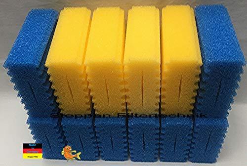 Steppan 12 Filterschwämme 8 x Filterschwamm blau (grob) 4 x Filterschwamm gelb (fein) geschlitzt passend für SunSun CBF 350 C. Auch passend für Osaga, Pondlife, Atlantis und OTF.