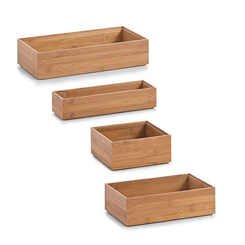 4x Zeller Ordnungsbox Bamboo gemischtes Set Aufbewahrungsboxen (Set: jede Größe 1 mal)