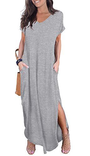 GRECERELLE Solid V-Neck Pocket Loose Maxi Dress Gray M
