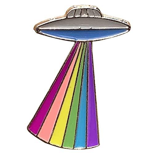 COLORFULTEA UFO Rainbow Gay LGBT Pride Spilla Smaltata Spille Distintivo Spilla da Bavero Spille Colletto Giacca di Jeans Accessori Gioielli di Moda