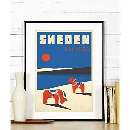 Travel Poster, Schweden, Dalarna, Dala, Reise, Skandinavien, Skandinavisches Dekor