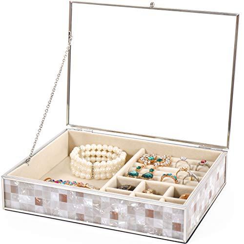 Schmuckkästchen, Schmuck Jewellery Box, Schmuckkoffer , Retro Transparent Schmuck Schmuckschatulle aus Glas, für Ringe Armbänder Ohrringe,Samtfutter Schminktisch Schlafzimmer Lagerung Schmuckkiste