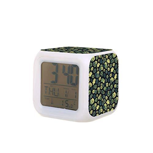 Reloj despertador digital LED con diseño de suculentas con indicador luminoso luminoso de la noche de la temperatura colorida del dormitorio del reloj de escritorio funciona con pilas
