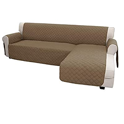 Easy-Going Sofa Slipcover L Shape Sofa Cover Sectional Couch Cover Chaise Lounge Slip Cover Reversible Sofa Cover Furniture Protector Cover for Pets Kids Children Dog Cat(X-Large,Camel/Camel)