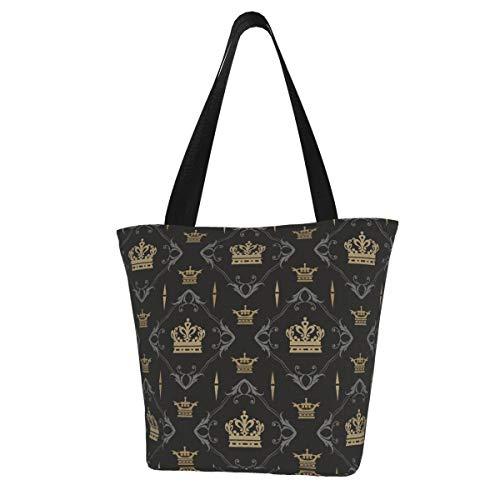 Moshow Tote Bag Dark Background Pattern. Hintergrundbild im königlichen Stil. Nahtlose Küche Wiederverwendbare Einkaufstüten Leinwand Einkaufstasche für Outdoor 11X13 Zoll