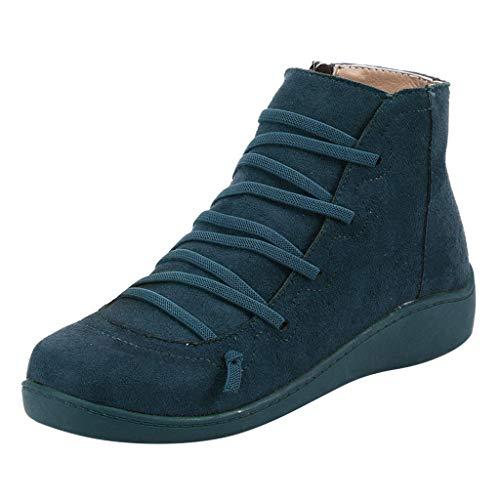 Stivali Neve Donna Scarpe da Impermeabile Invernali Boots Stivaletti Flat Punta Rotonda Casual Scivolare Zip Laterale con Lacci (38 EU,Blu)
