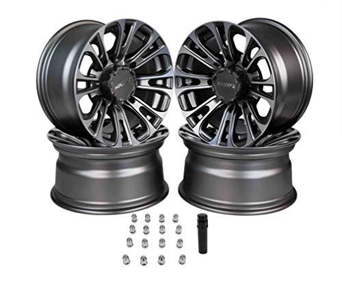 RockTrix RT104 12 ATV Wheels Rims 12x7 Matte Black 4x156 Bolt Pattern Compatible with many Polaris ATV UTV 4//156 - Set of 4 4+3 offset