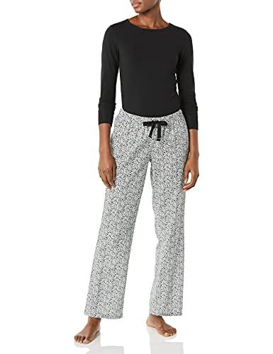 Amazon Essentials Conjunto de Pijama de Franela Ligera y Camiseta de Punto de Manga Larga, Black...