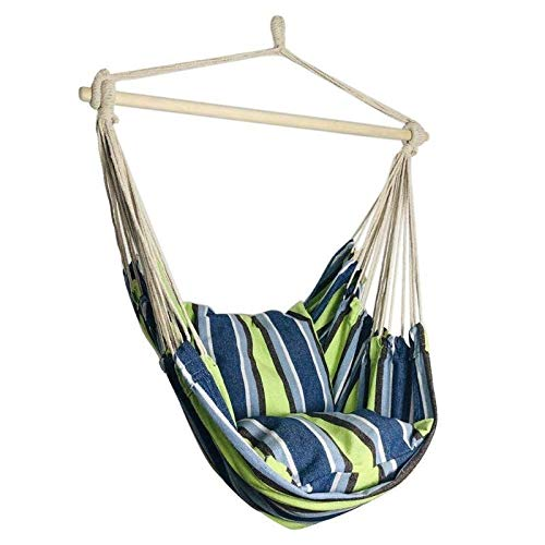 CHENTAOCS Draagbare Travel Camping hangende hangmat huis Slaapkamer Swing Bed Lazy Chair for Garden Indoor Outdoor Fashionable Hangmat Schommels (Color : T with 2 Pillows)