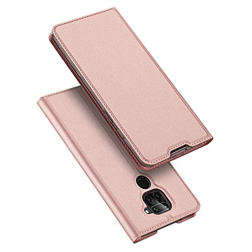 DUX DUCIS Hülle für Redmi Note 9, Leder Flip Handyhülle Schutzhülle Tasche Hülle mit [Kartenfach] [Standfunktion] [Magnetverschluss] für Xiaomi Redmi Note 9, Rose Golden