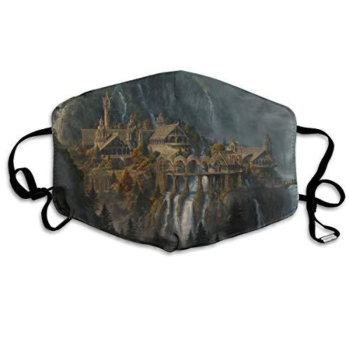 Fantasy Art Artwork Lord Rings Lotr waterval steden kasteel rivier detail unisex volledige dekking buis gezichtsmasker Bandanas UV-bescherming nek Gaiter hoofdband