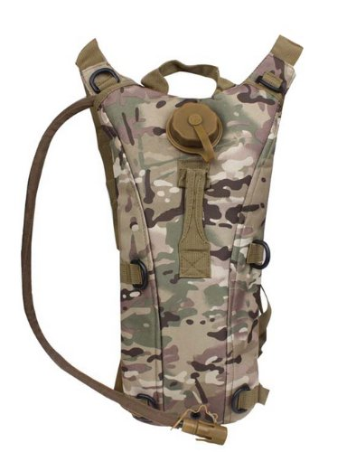 Ultimate Arms Gear Tactical TACCAM Multi Terrain Camo Camouflage Hydration Pack Backpack Carrier With 2.5 Liter / 84 oz. Water Drinking Bladder Reservoir Capacity System Includes Hosing And Hands Free Bite Valve, Heavy Duty D-Rings, Storage Pocket, Adjustable Shoulder Strap & Emergency Carry Handle - Camping Hiking Outdoor Hunting Airsoft Bicycle Running Sports Military Patrol