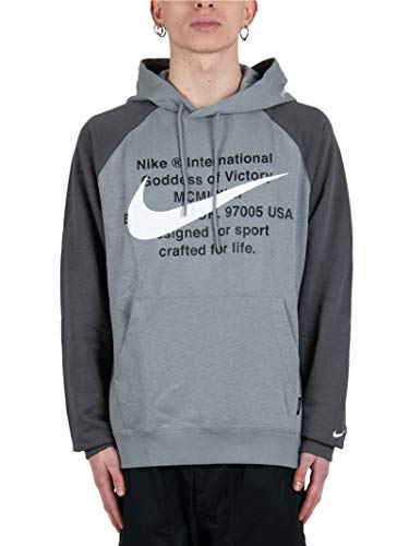Nike M NSW Swoosh - Felpa con cappuccio da uomo 073gy/Gy/W L