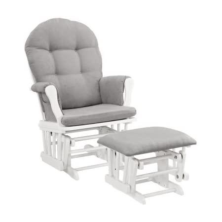 Angel Line Windsor Glider and Ottoman White Finish and Gray Cushions
