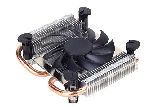 SilverStone SST-AR04 Argon Thin Mini-ITX - Ventilador de CPU con 2 tubos de calor, tecnología Direct Contact Heatpipe y ventilador PWM de 80 mm para zócalo Intel