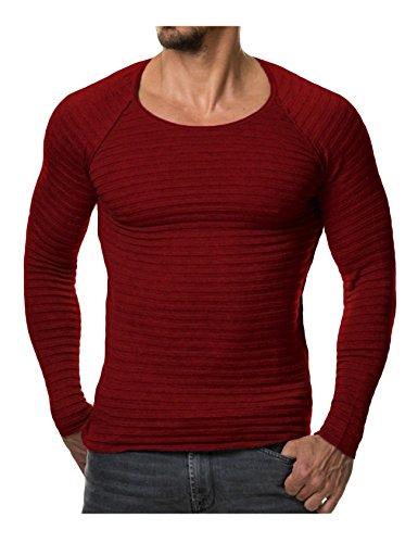 Legou Homme Sweat en Tricot Shirt de Sport struire Rouge Vineux X-Large