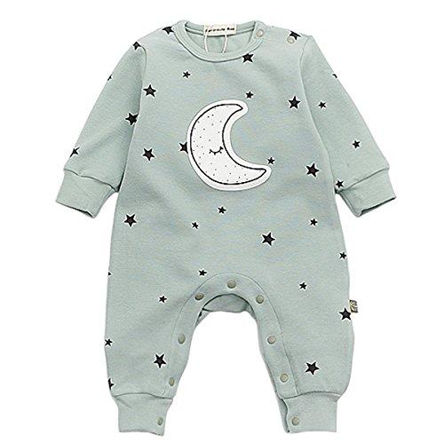 Bebone Baby Strampler Jungen Mädchen Overall Stern und Mond Babykleidung (0-3 Monate/66, Grün)