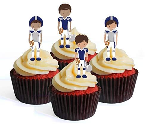 Ballon de football NFL GFL Superbowl Team Player bleu argenté Theme #2 Edible Cupcake Toppers – Stand Up Wafer Decorations, Packung mit 12
