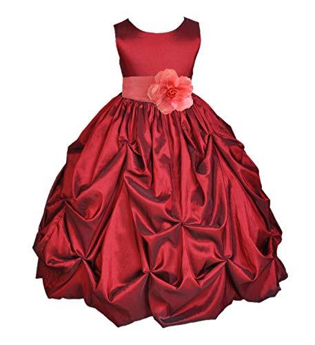 ekidsbridal Satin Taffeta Pick-Up Bubble Apple Red Junior Pageant Girl Dress Formal 301S 6