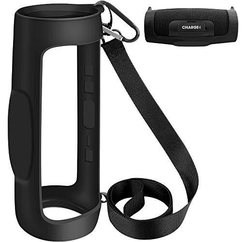 Schutzhülle aus Silikon für JBL Charge 4 wasserdichte tragbare Bluetooth-Lautsprecher mit Schultergurt & Karabiner…