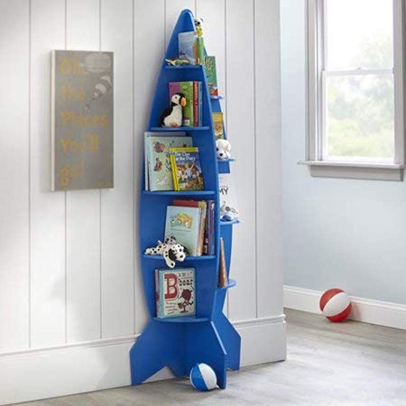 Inspire Kids Love Of Reading And Make Their Room Super Awesome With Fun And Unique Mainstays Kids Rocket Shaped Bookshelf Great For Storing Toys Action Figures Dolls Race Cars And Other Blue
